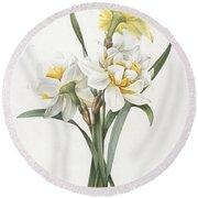 Double Daffodil Round Beach Towel