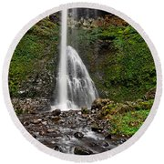 Double Falls In Silver Falls State Park In Oregon Round Beach Towel