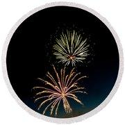 Double Fireworks Blast Round Beach Towel