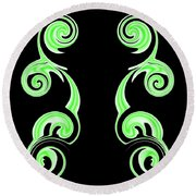 Double Green Swirl Round Beach Towel