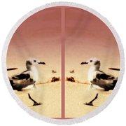 Double Gulls Collage Round Beach Towel