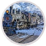 Double Header Nevada Northern Railway #1 Round Beach Towel