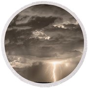 Double Lightning Strikes In Sepia Hdr Round Beach Towel by James BO  Insogna
