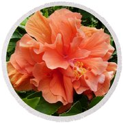 Double Peach Hibiscus Round Beach Towel