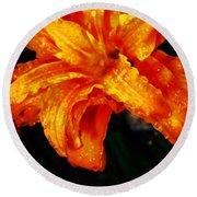Double Petaled Lilly Round Beach Towel