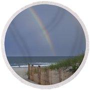 Double Rainbow Beach Seaside Park Nj Round Beach Towel