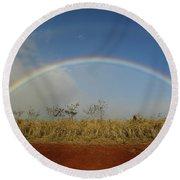 Double Rainbow Over A Field In Maui Round Beach Towel