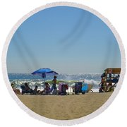 Double Red Round Beach Towel