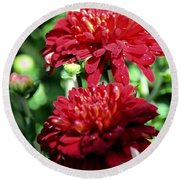 Doubled Red Mums Round Beach Towel