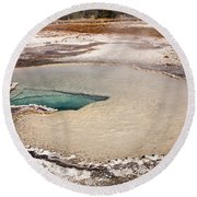 Doublet Pool In Upper Geyser Basin In Yellowstone National Park Round Beach Towel