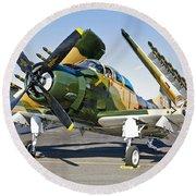 Douglas Ad-5 Skyraider Attack Aircraft Round Beach Towel