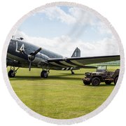 Douglas C-47a Skytrain Ready For D-day Round Beach Towel