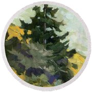Douglas Fir In Washington Round Beach Towel