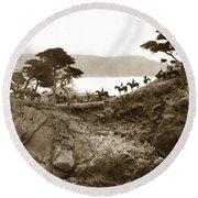 Douglas School For Girls At Lone Cypress Tree Pebble Beach 1932 Round Beach Towel