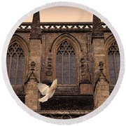Dove Flying By Church Round Beach Towel