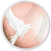 Dove In Flight Red Round Beach Towel