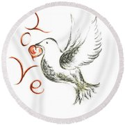 Dove Of Love Round Beach Towel