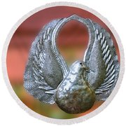 Garden Dove Of Peace Sculpture Round Beach Towel