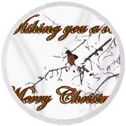 Dove - Snowy Limb - Christmas Card Round Beach Towel