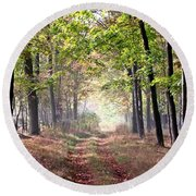 Down A Country Lane Round Beach Towel