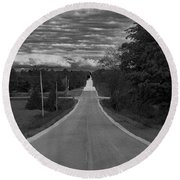 Down A Country Road Round Beach Towel