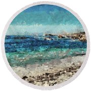 Down By The Sea 2 Round Beach Towel