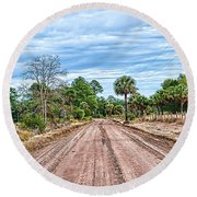 Down Chisolm Island Road Round Beach Towel