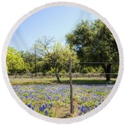 Down Country Bluebonnets Round Beach Towel