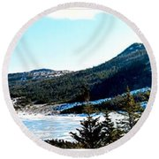 Down In The Valley Triptych Round Beach Towel
