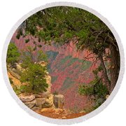 Down Into The Grand Canyon Round Beach Towel