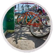 Down Spout And Bikes Round Beach Towel