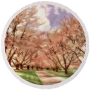 Down The Cherry Lined Lane Round Beach Towel