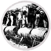 Down The Drain Round Beach Towel by Bill Cannon
