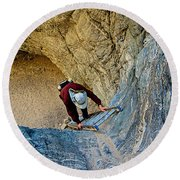 Down The Ladder In Big Painted Canyon Trail In Mecca Hills-ca  Round Beach Towel