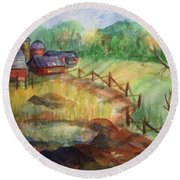 Down The Road A Piece Round Beach Towel