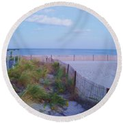 Down The Shore At Belmar Nj Round Beach Towel