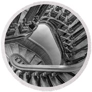 Down The Side - Bw Round Beach Towel