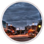Down Town Granite Falls At Six Thirty In The Morning Round Beach Towel by Robert Loe