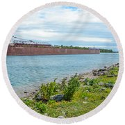 Downbound At Mission Point 3 Round Beach Towel