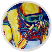 Downhill Racer Round Beach Towel