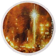 Downtown 6th St Seattle In Dec Round Beach Towel