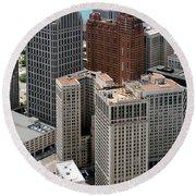 Downtown Aerial Of Detroit Michigan Round Beach Towel