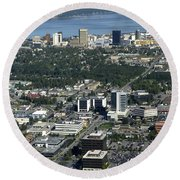 Downtown Anchorage Alaska Round Beach Towel
