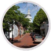 Downtown Annapolis With Maryland State House Cupola Round Beach Towel