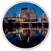 Downtown At Dusk Round Beach Towel