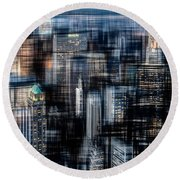 Downtown At Night Round Beach Towel by Hannes Cmarits