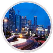 Downtown Atlanta At Dusk Round Beach Towel