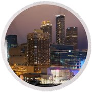 Downtown Atlanta Skyline At Dusk Round Beach Towel