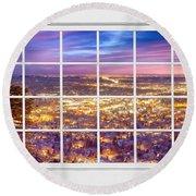Downtown Boulder Colorado City Lights Sunrise  Window View 8lg Round Beach Towel