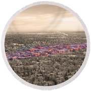 Boulder Colorado  Twenty-five Square Miles Surrounded By Reality Round Beach Towel